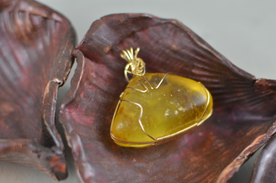 Gold Wrapped Amber Pendant