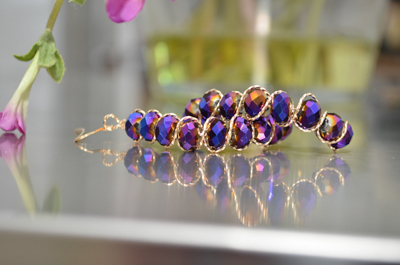 Gold Wrapped Purple Iridescent Earrings
