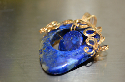 Gold Wrapped Lapis Pendant