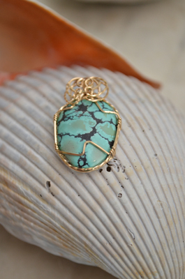 Gold Wrapped Turquoise Pendant