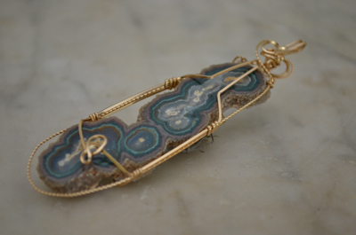 Gold Wrapped Ocean Spray Agate Pendant