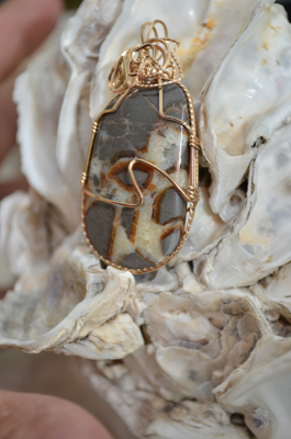 Gold Wrapped Serpantine Crystal Pendant